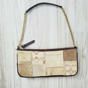 Coach Patchwork Metallic Purse Gold Chain Strap